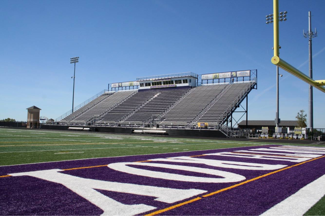 View of home stands and Panigutti Press Box from the North end zone at Serpentini Stadium