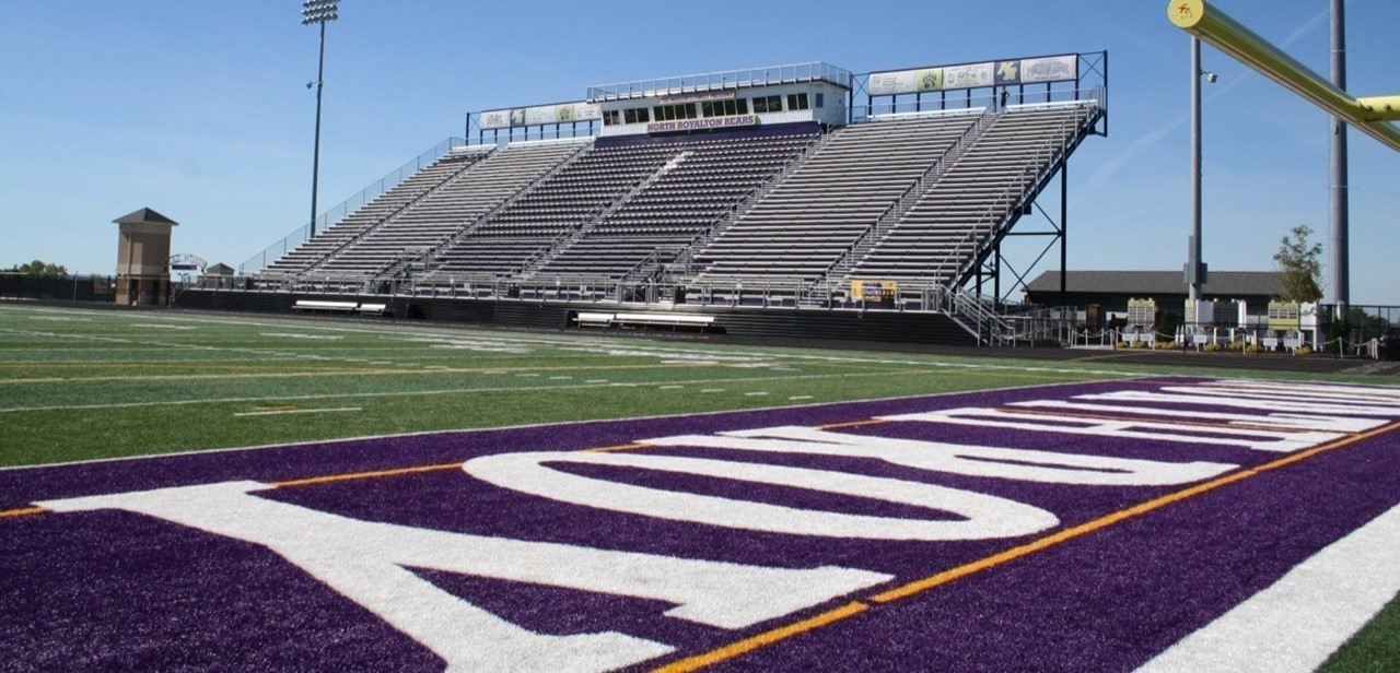 View of home stands and Panigutti Press Box from the North end zone at Serpentini Chevrolet Stadium